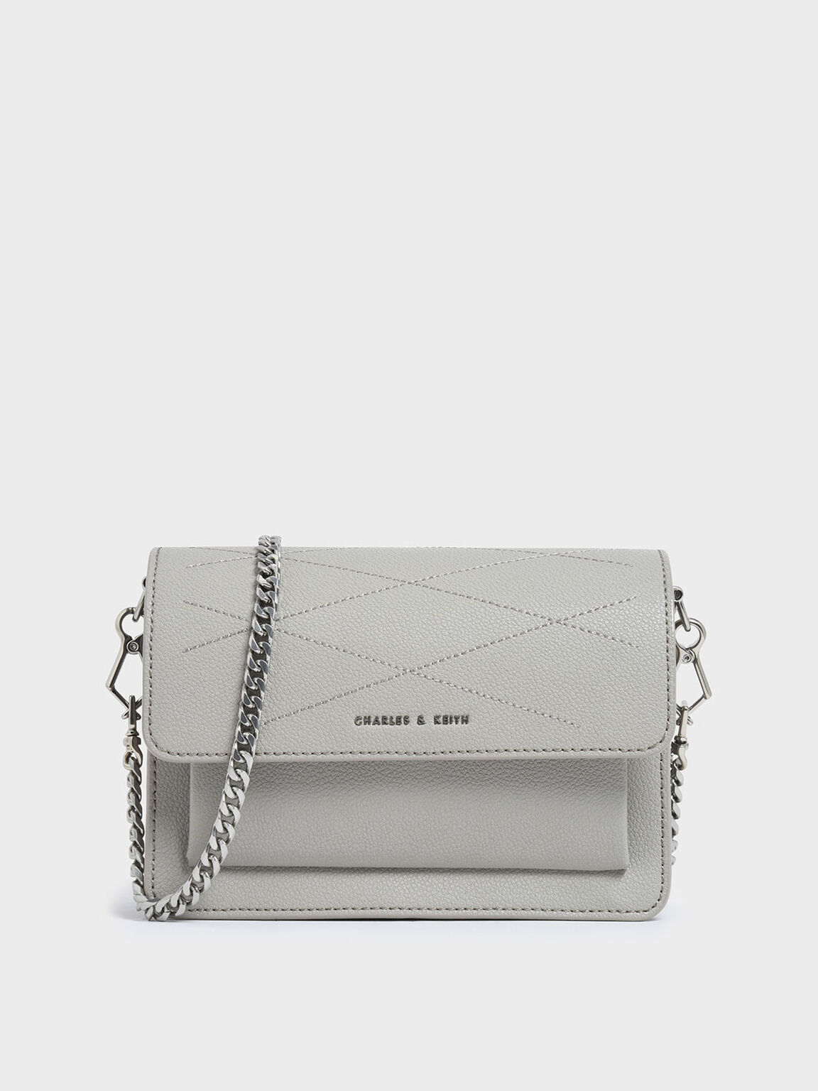Top Stitch Detail Crossbody Bag, Grey, hi-res