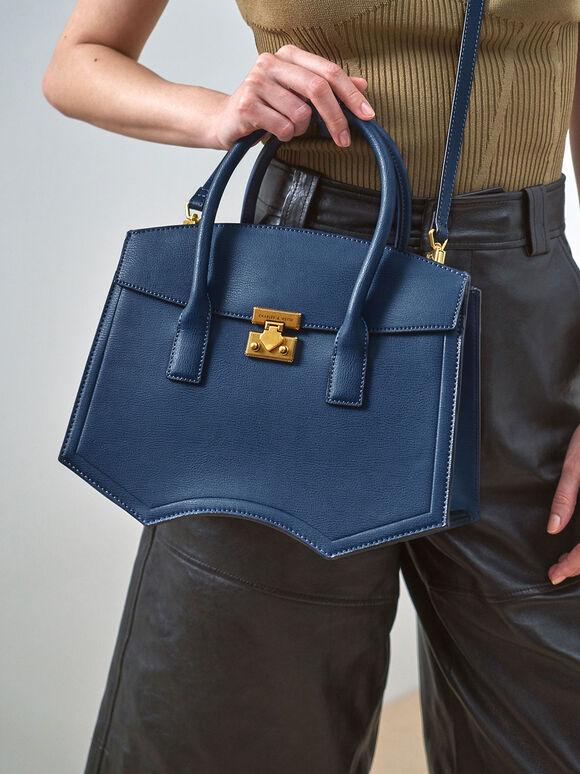 Double Handle Sculptural Tote Bag, Blue, hi-res