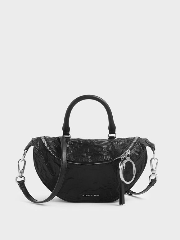 Wrinkled Effect Semi-Circle Crossbody Bag, Black, hi-res