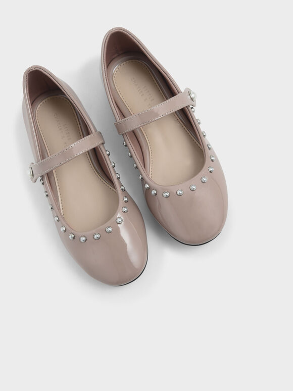 Girls' Embellished Trim Patent Mary Jane Flats, Nude, hi-res