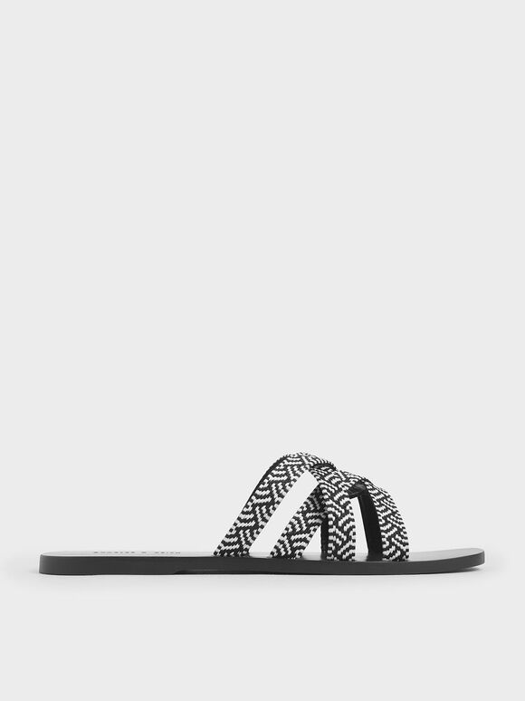 Woven Strappy Slide Sandals, Black, hi-res