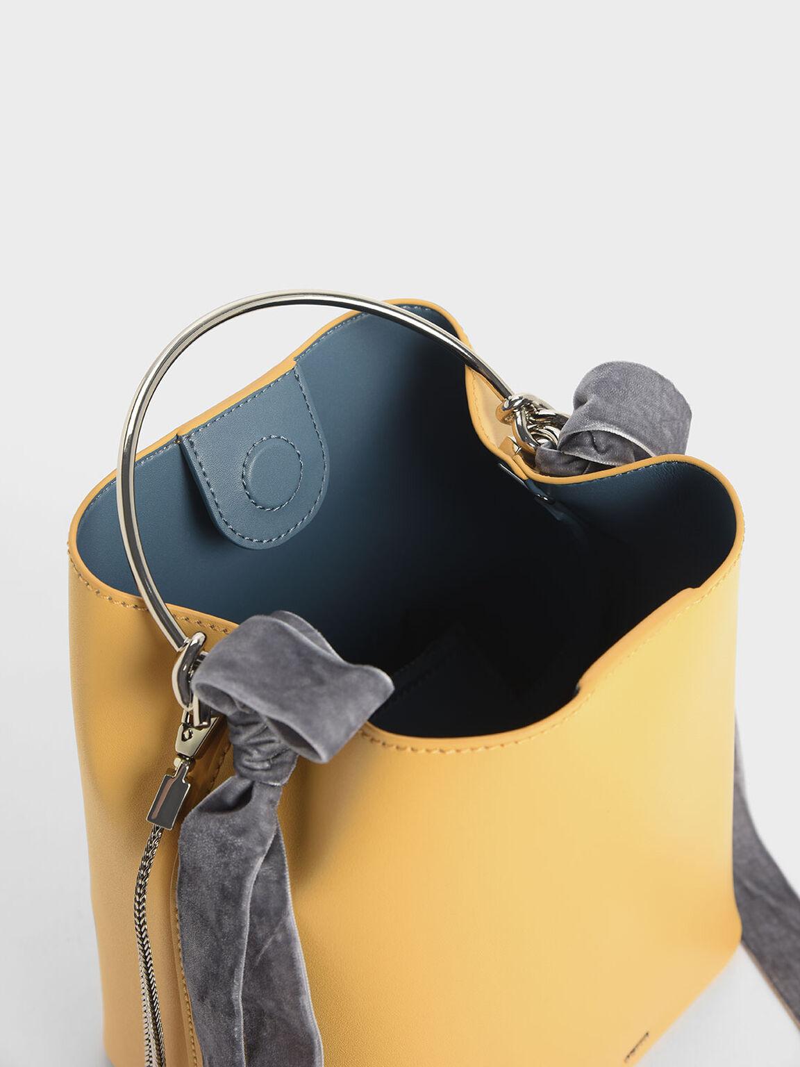 蝴蝶結金屬手提包, 黃色, hi-res