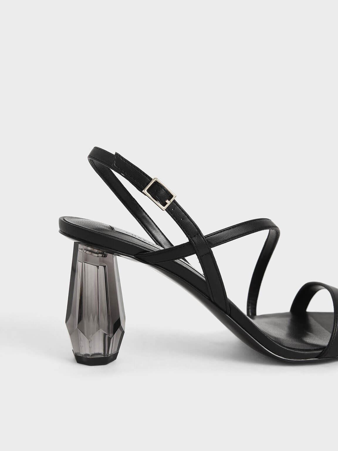 方頭水晶涼鞋, 黑色, hi-res