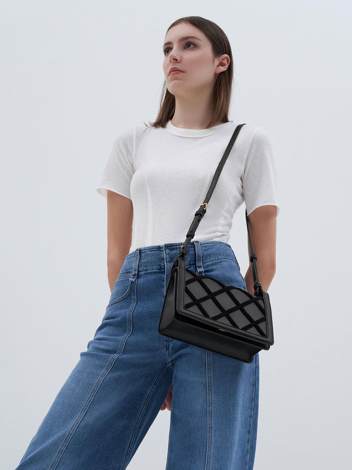 Beaded Handle Shoulder Bag, Black, hi-res