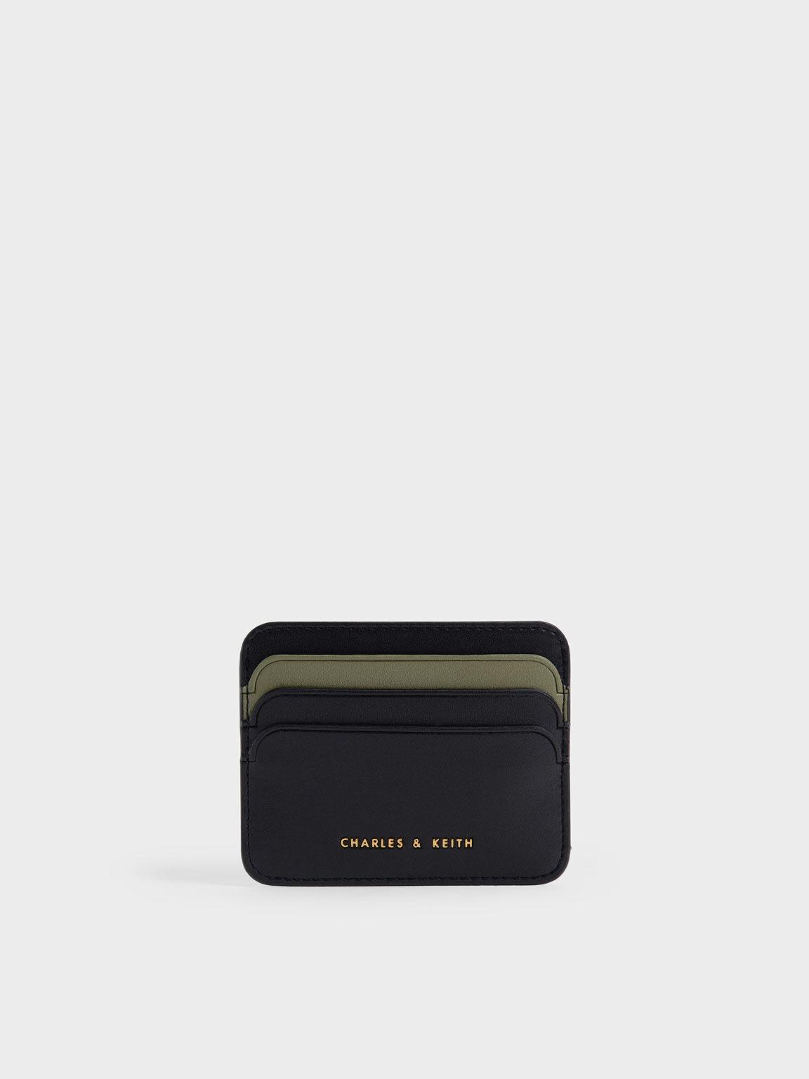 Two-Tone Multi Slot Card Holder, Black, hi-res