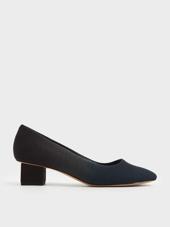 Felt Block Heel Pumps, Dark Blue, hi-res