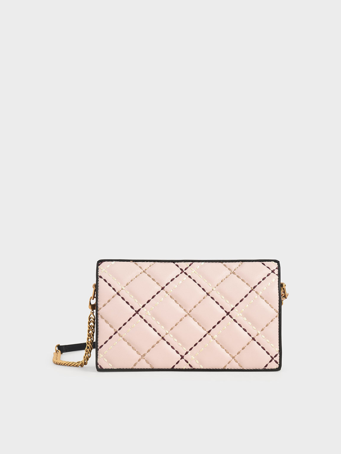 Quilted Long Wallet, Light Pink, hi-res