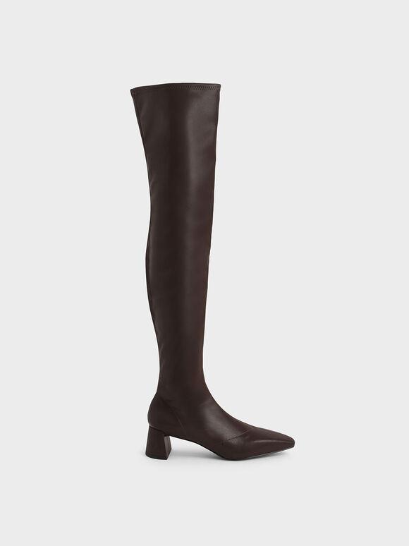 扁形跟膝上靴, 深咖啡, hi-res