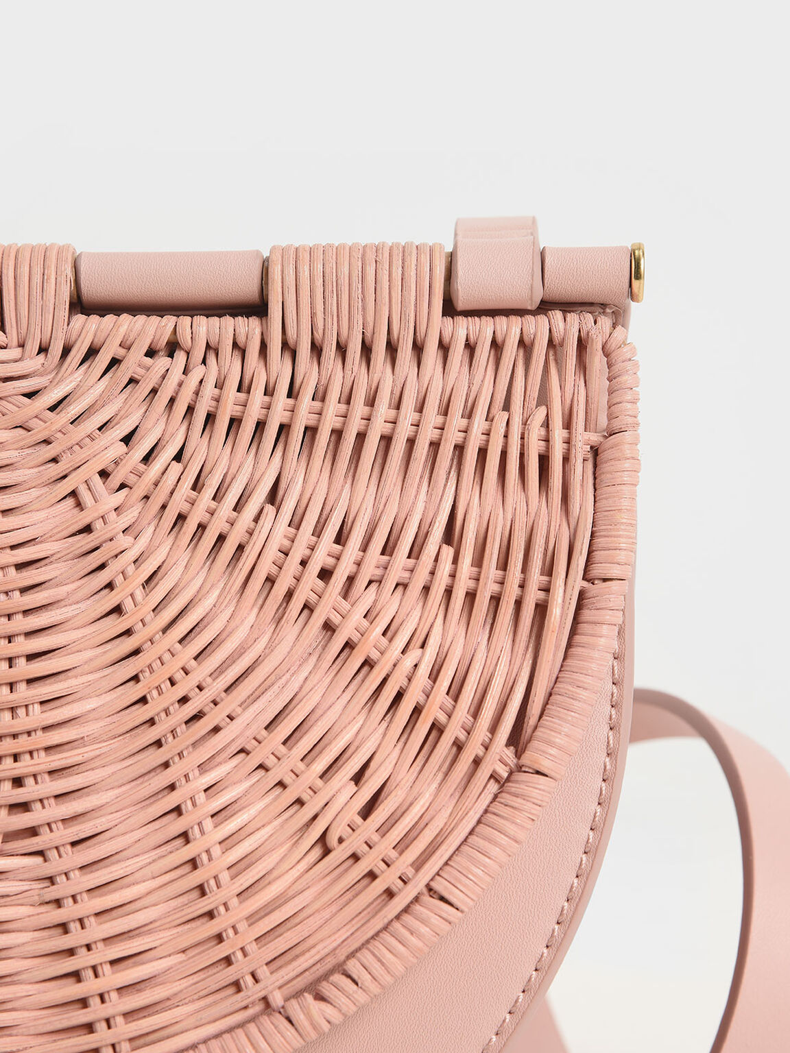 Rattan Semi-Circle Crossbody Bag, Pink, hi-res
