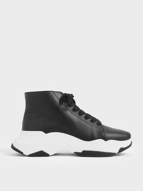 Lace-Up Chunky High Top Sneakers, Black
