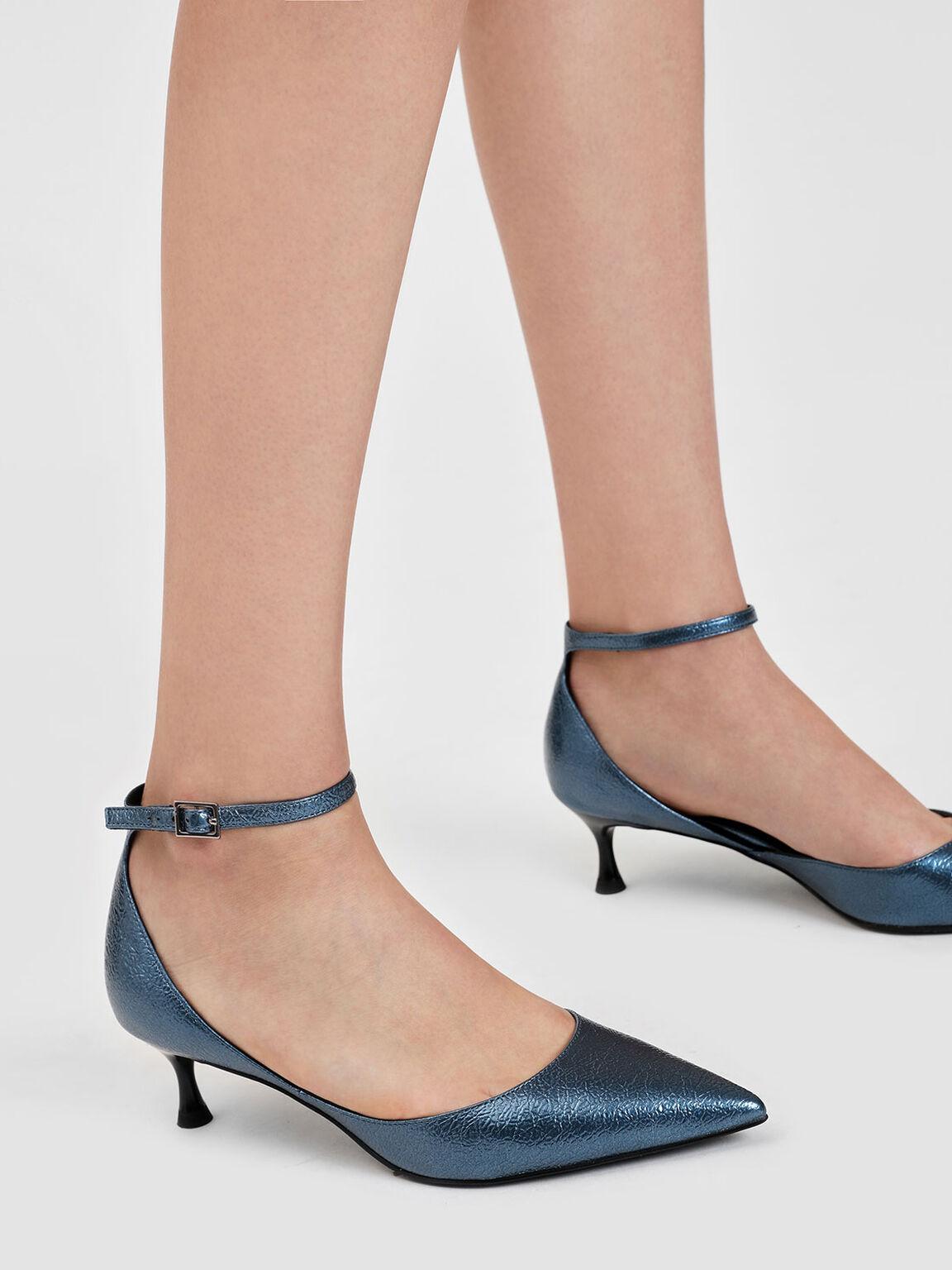 Metallic Ankle Strap Heeled Sandals, Dark Blue, hi-res