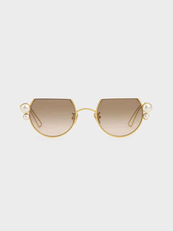 Swarovski® Crystal Pearl Embellished Cut-Off Round Sunglasses, Gold, hi-res