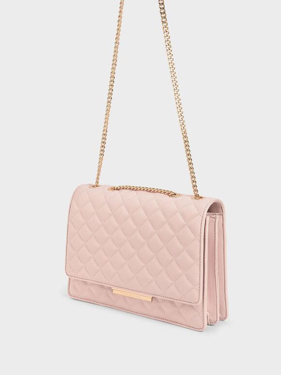 Quilted Chain Strap Shoulder Bag, Pink, hi-res