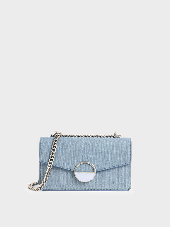 Stone Embellished-Buckle Shoulder Bag, Denim Blue, hi-res