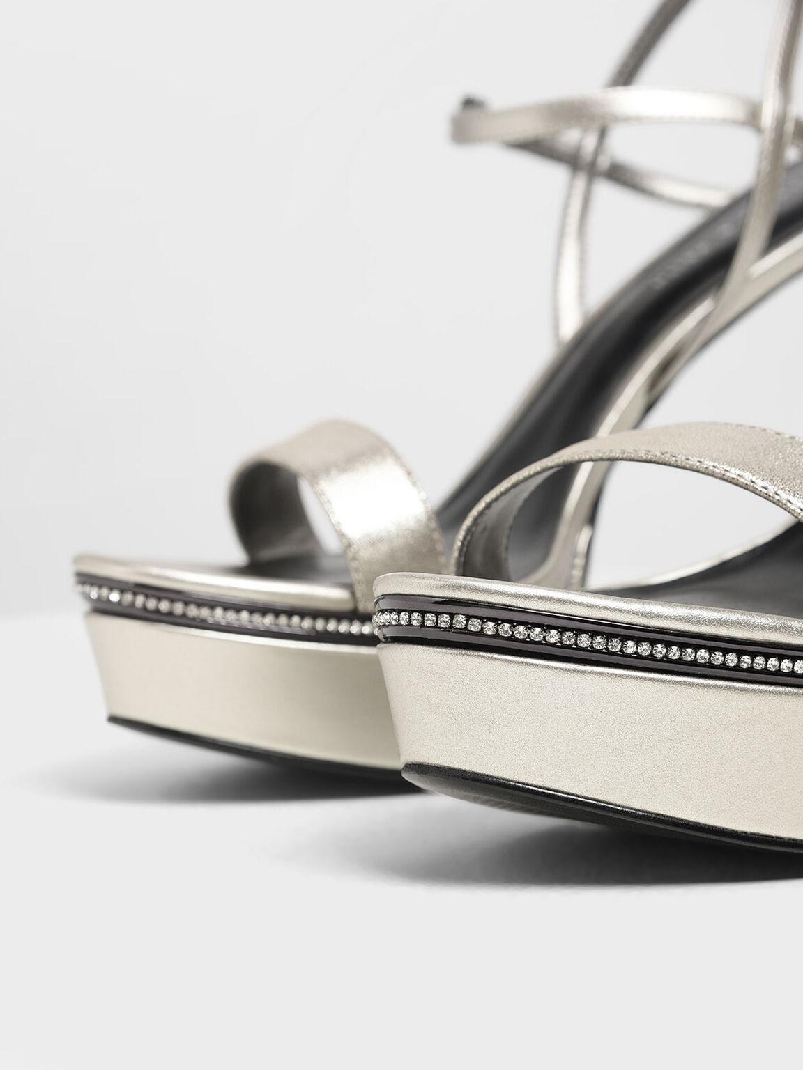 鑲鑽厚底高跟涼鞋, 銀色, hi-res