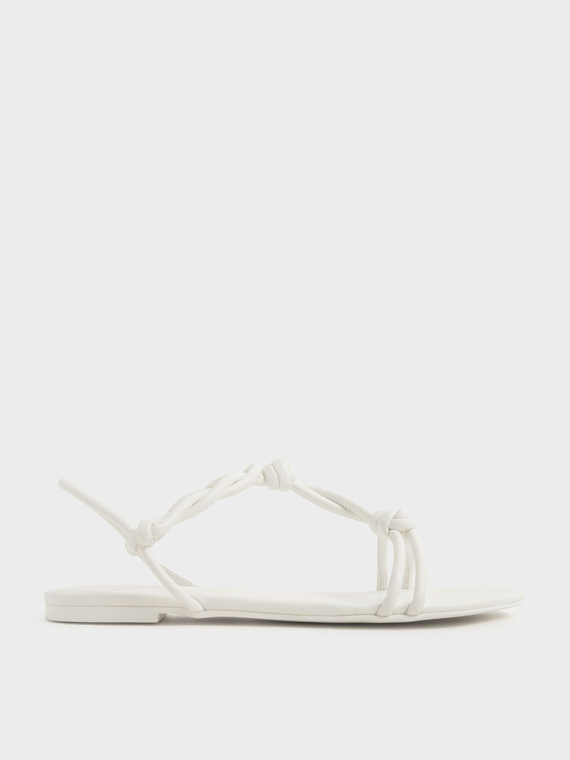 Knotted Strap Sandals, White, hi-res