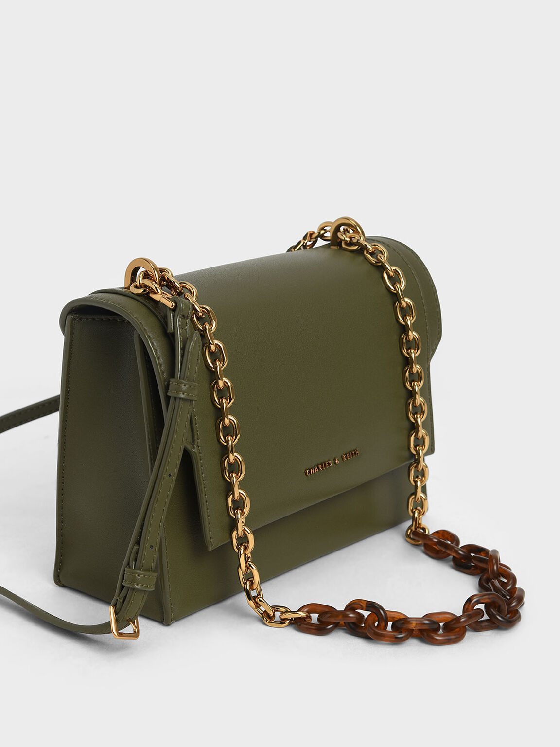 Chunky Chain-Link Crossbody Bag, Olive, hi-res