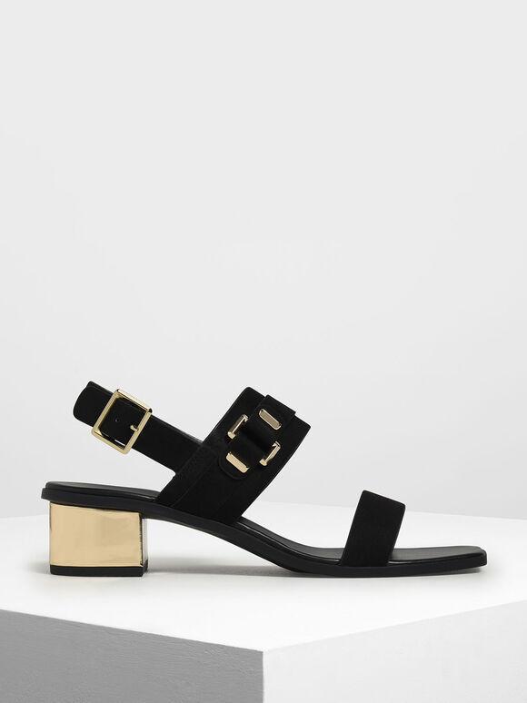 Chrome Block Heel Sandals, Black, hi-res