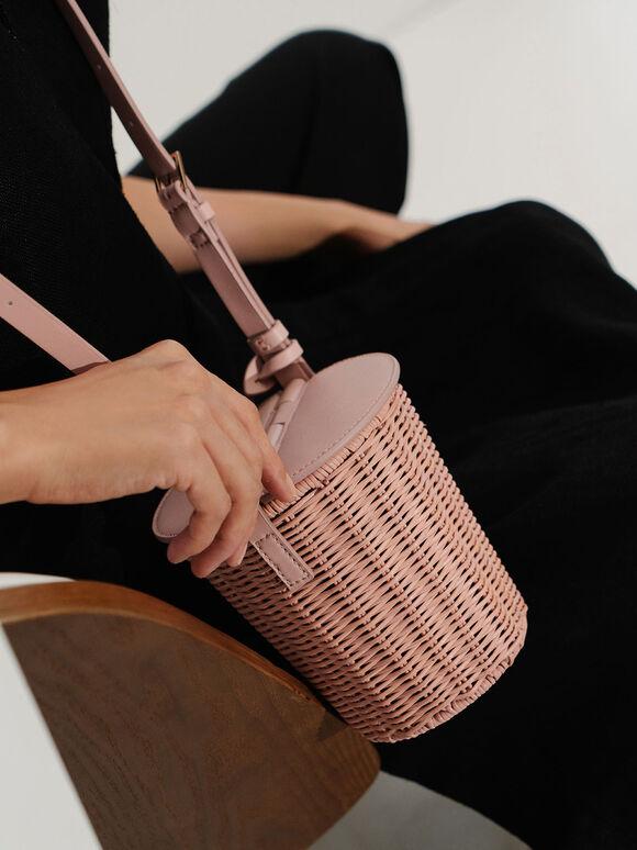 藤編水桶包, 粉紅色, hi-res