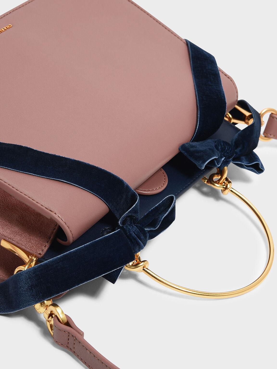 Velvet Bow Detail Handbag, Mauve, hi-res
