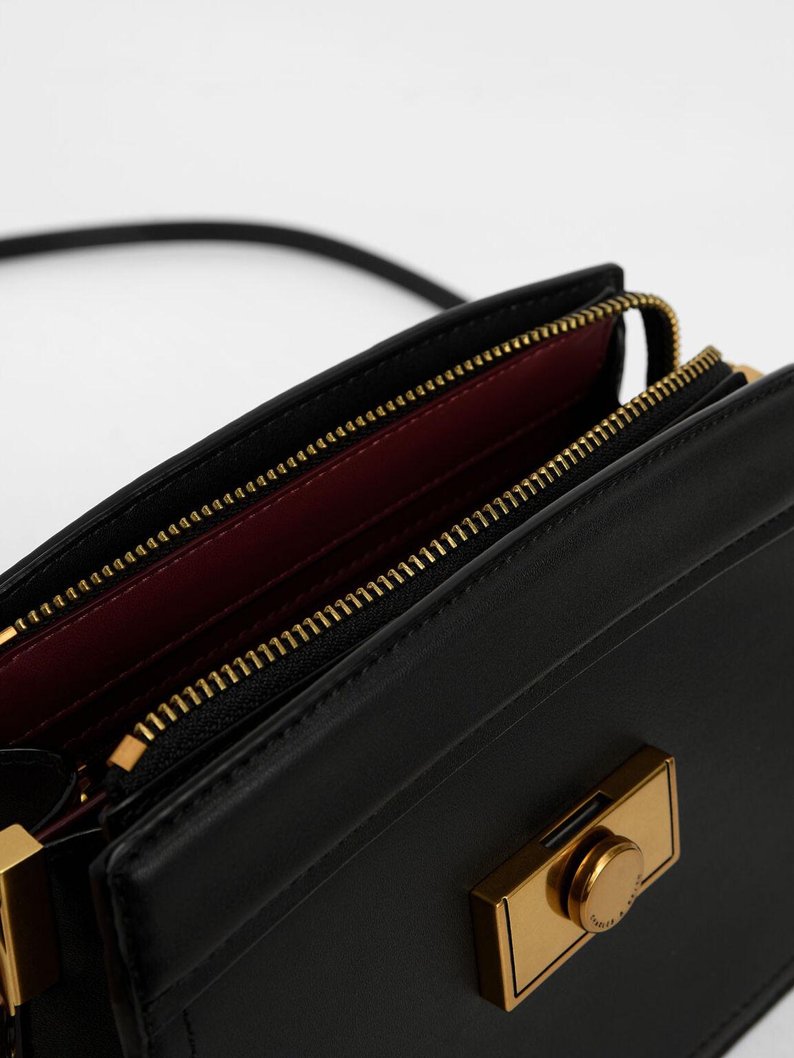 Metallic Push-Lock Shoulder Bag, Black, hi-res