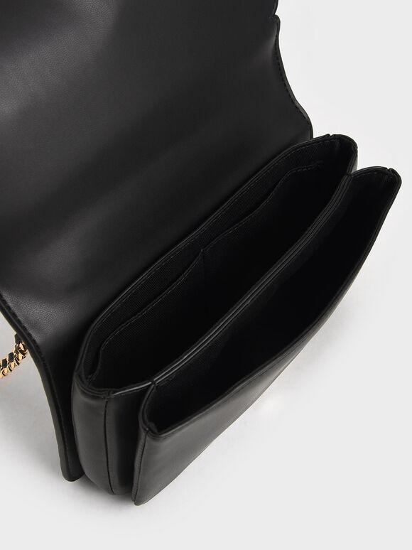 花邊斜背包, 黑色, hi-res