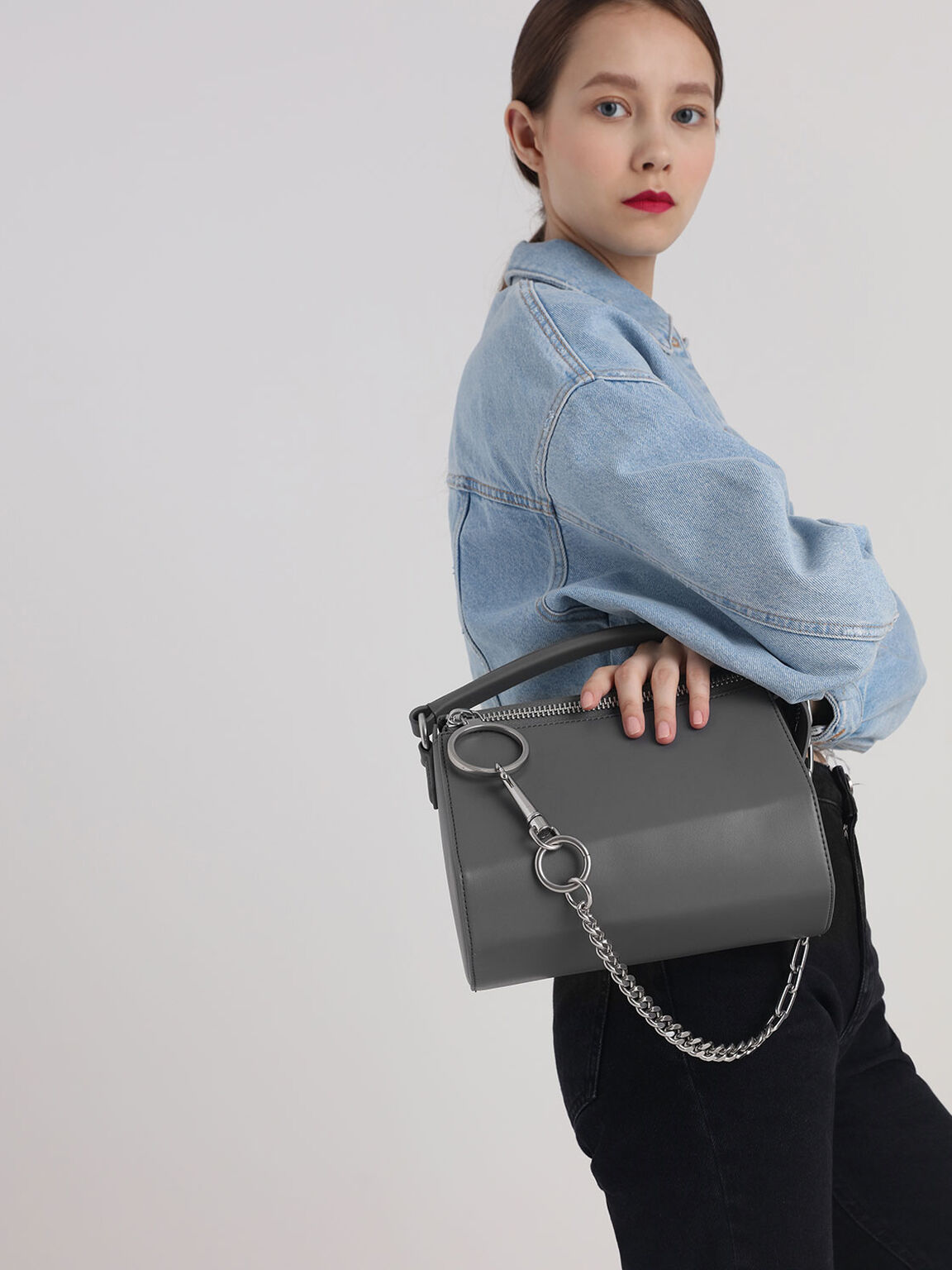 Ring Zip Bag, Grey, hi-res