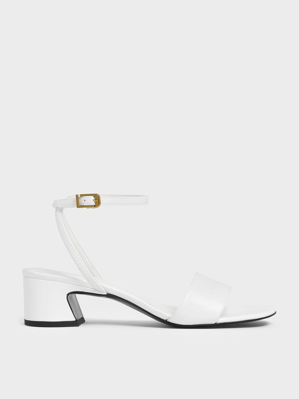 Curved Block Heel Ankle Strap Sandals, White, hi-res