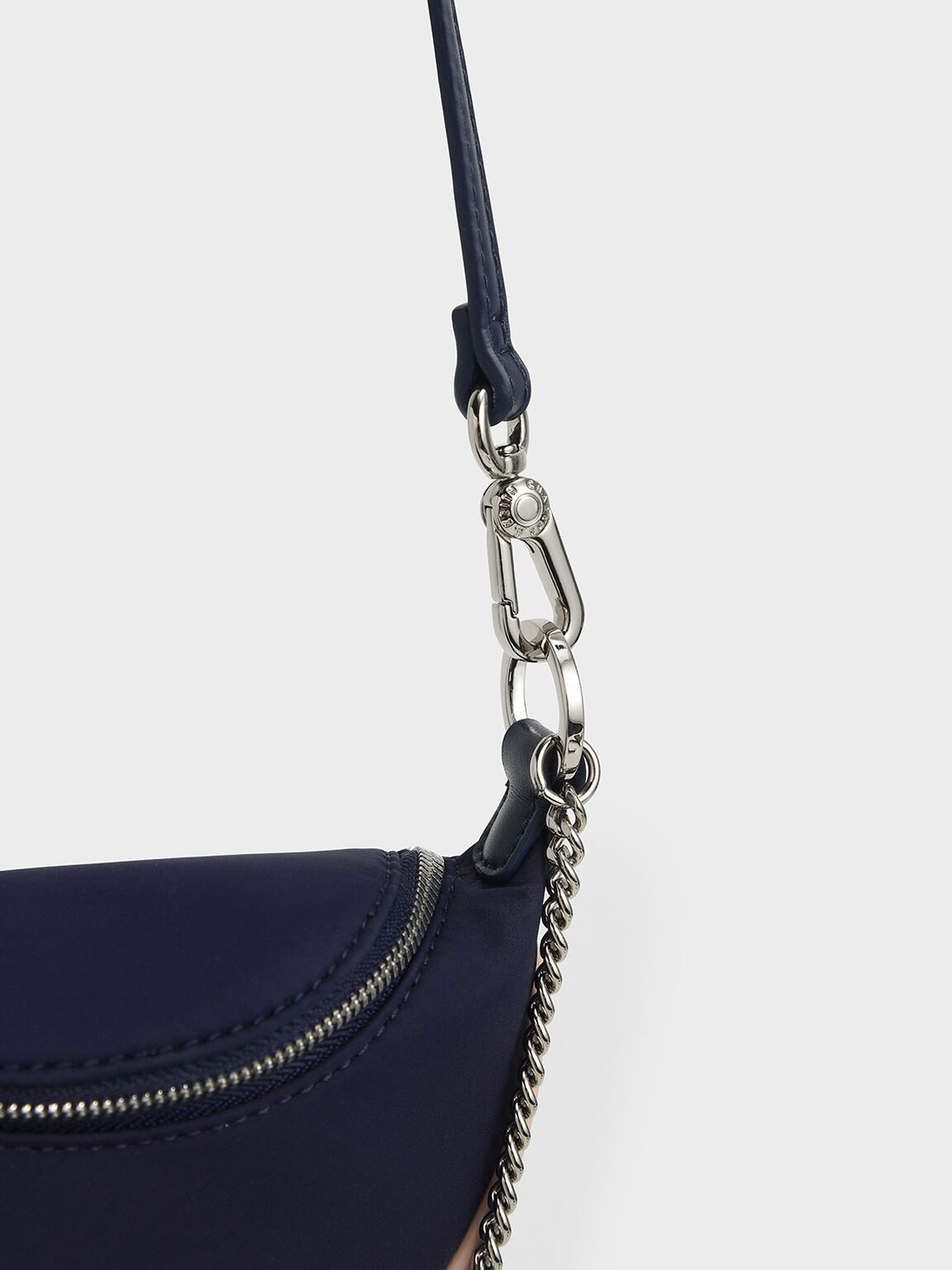 Girls' Chain-Embellished Crossbody Bag, Dark Blue, hi-res
