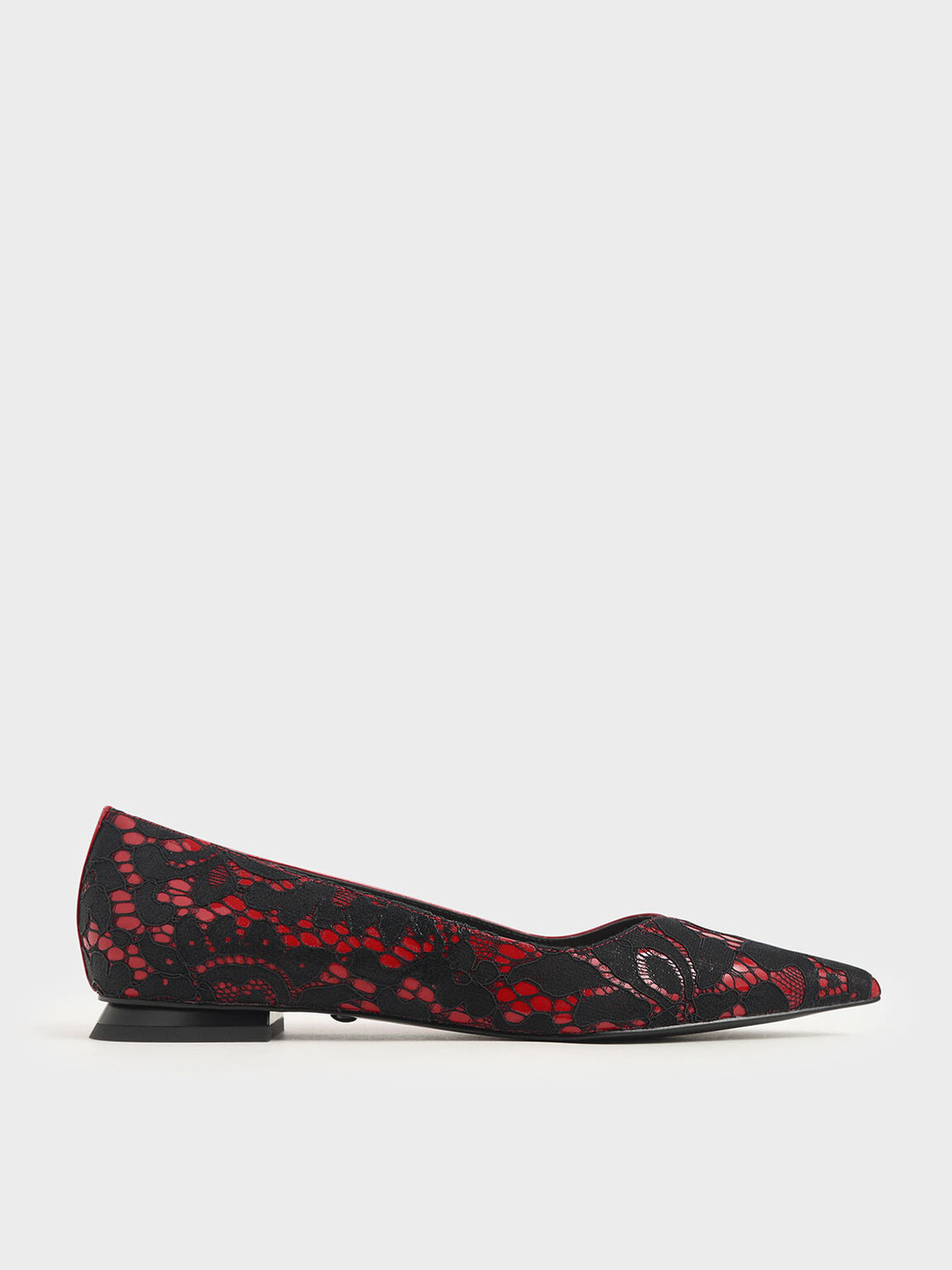 Patent Leather Lace Ballerina Flats, Red, hi-res