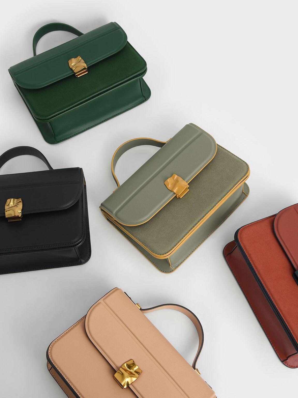 Textured Hammered Buckle Bag, Green, hi-res