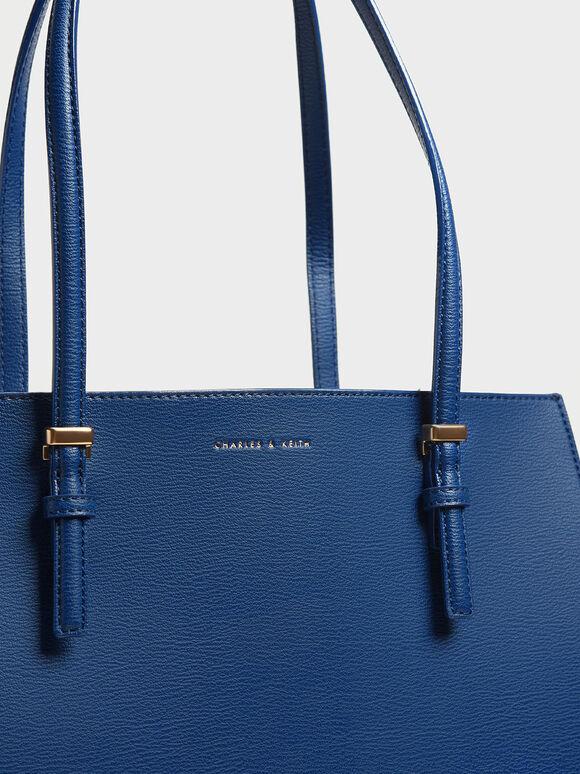 Double Handle Tote Bag, Dark Blue, hi-res