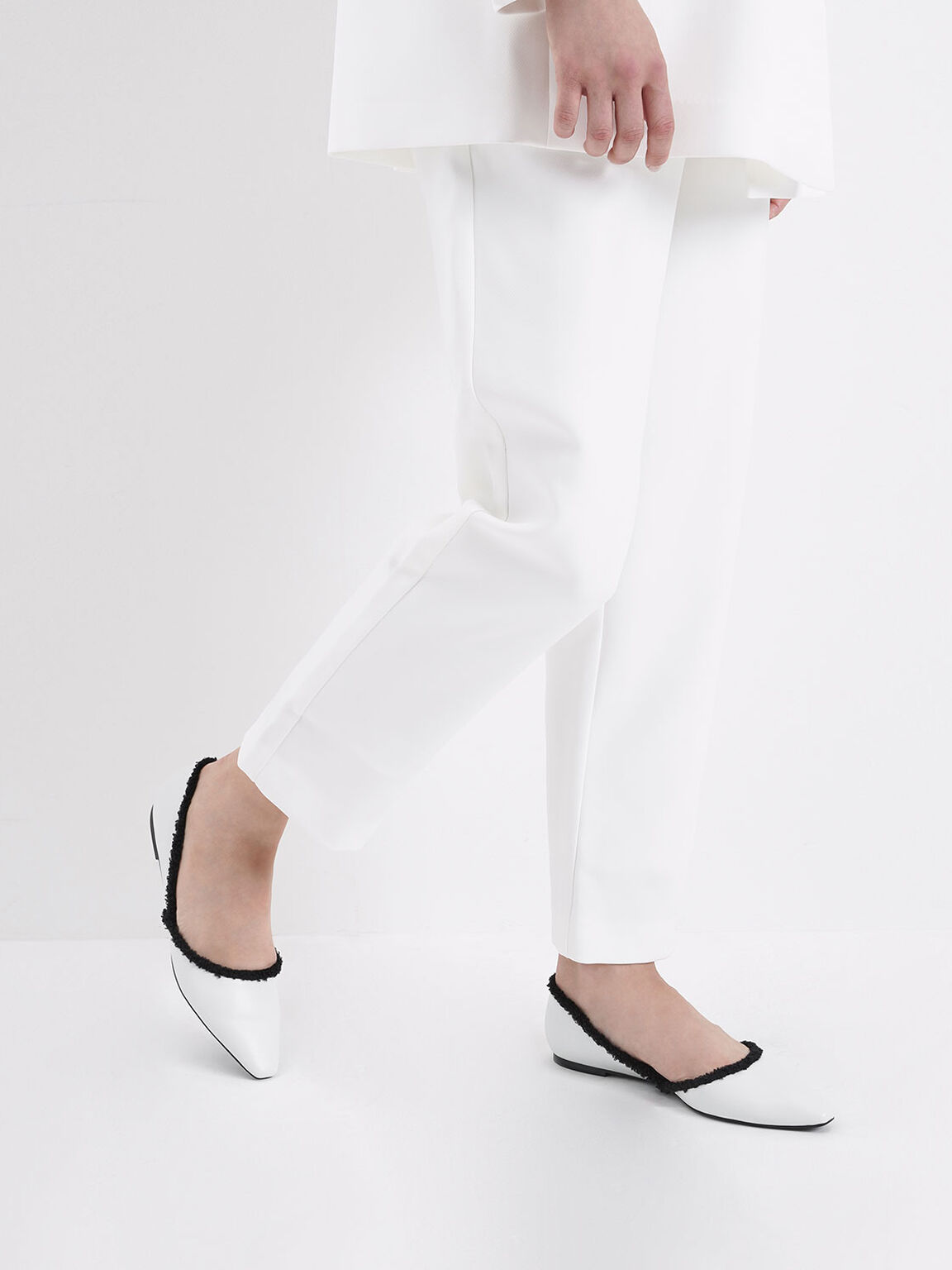 Textured Trim D'Orsay Flats, White, hi-res