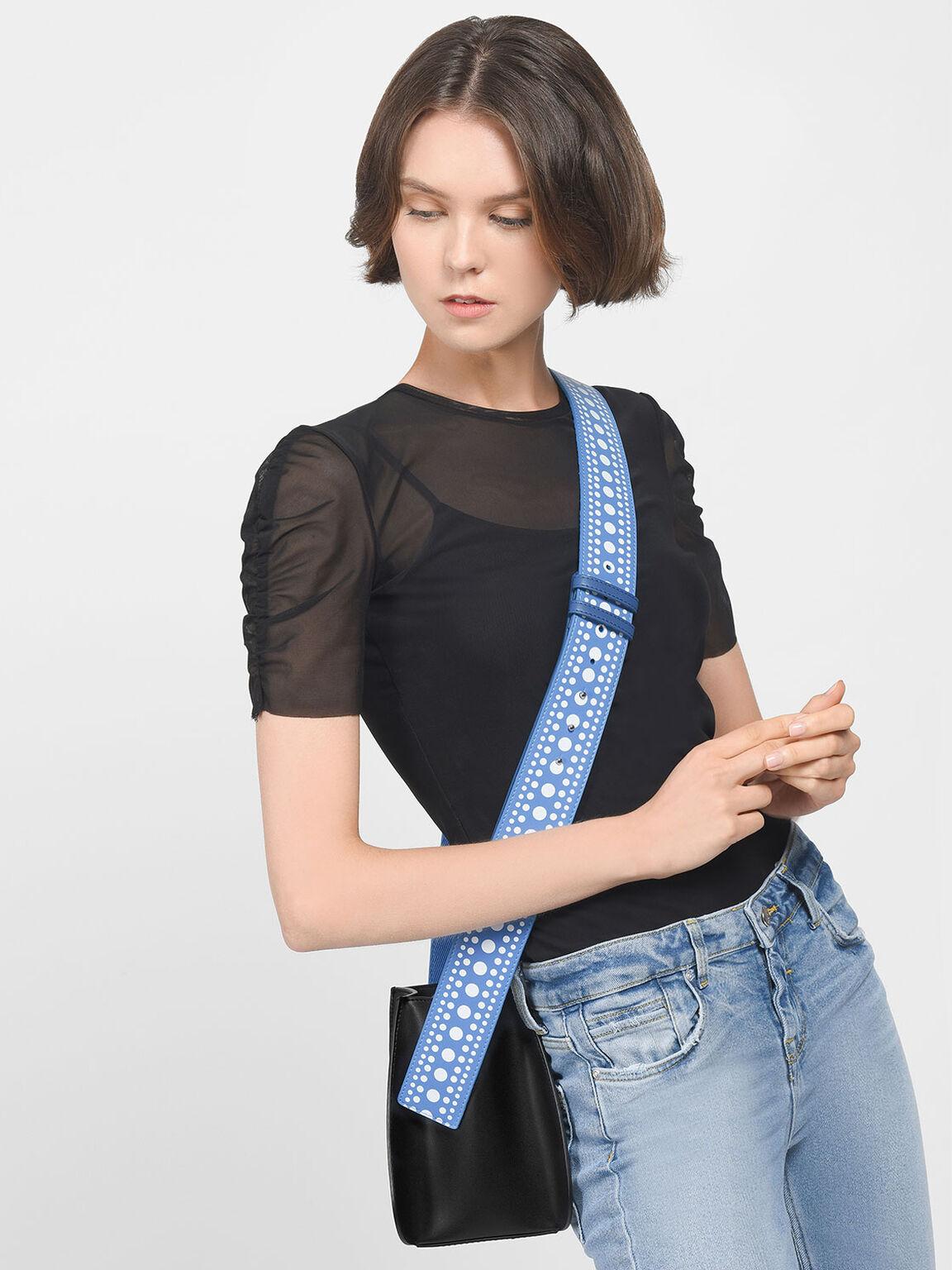 Elongated Detail Bag Strap, Blue, hi-res