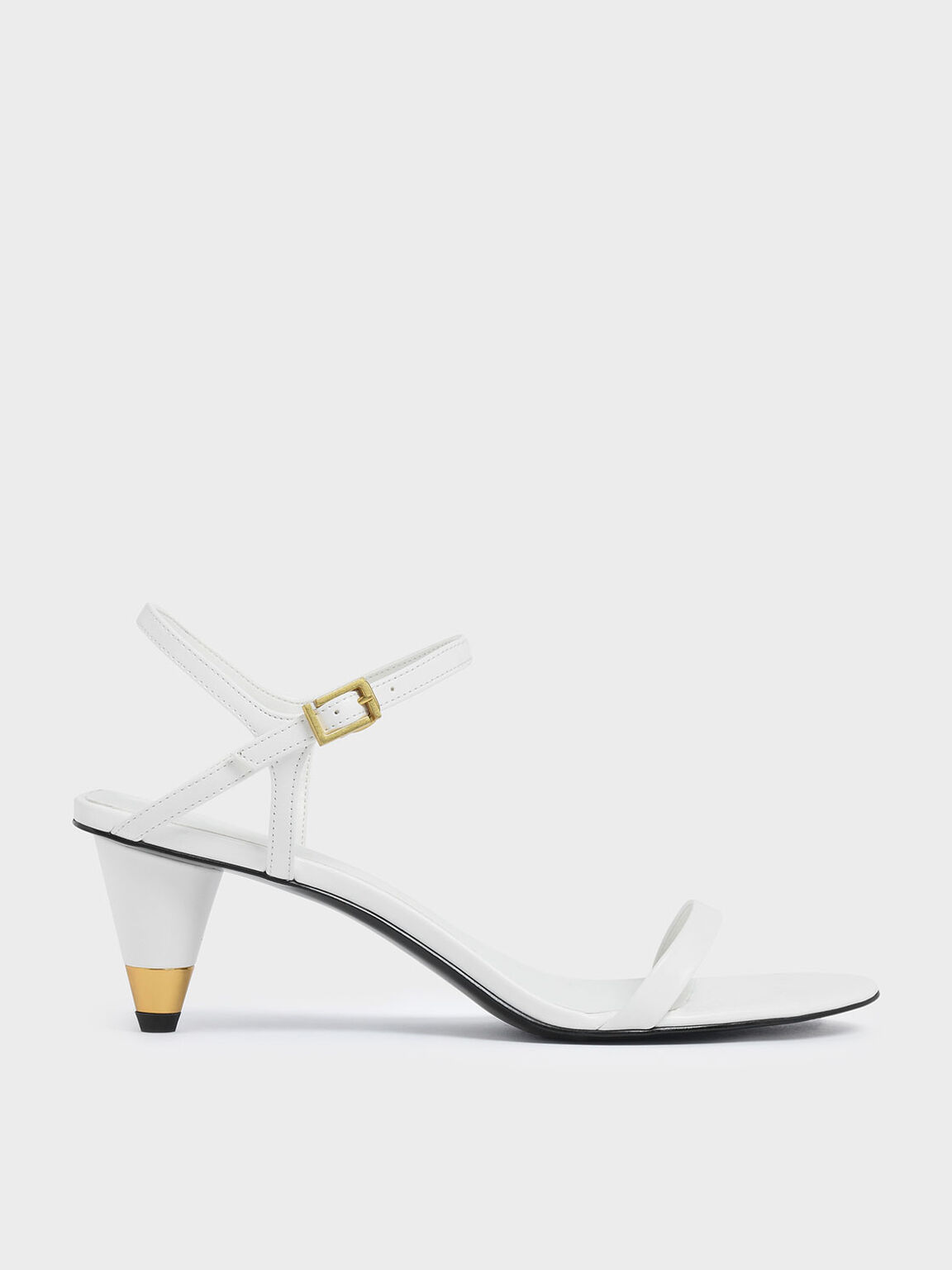 Gold Accent Cone Heel Sandals, White, hi-res