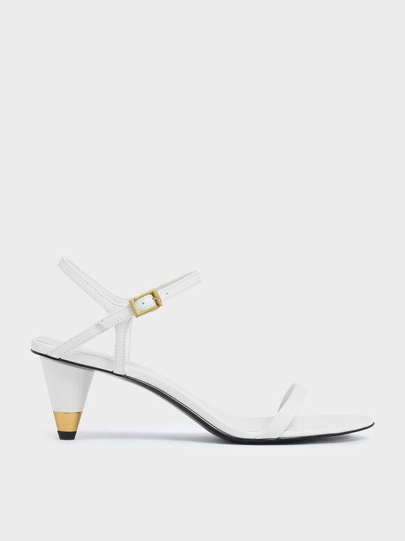Gold Accent Cone Heel Sandals, White, hi-res