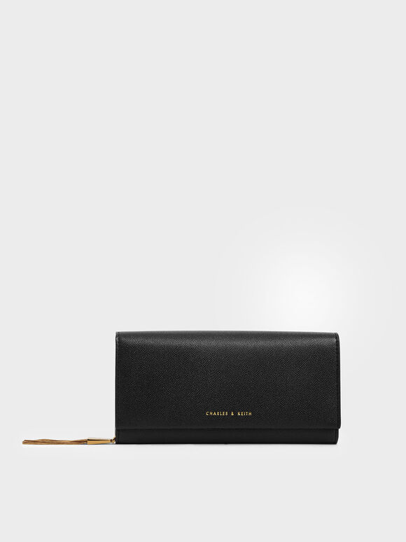 Metal Tassel Classic Long Wallet, Black, hi-res