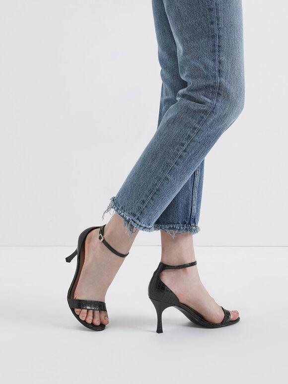 Croc-Effect Ankle Strap Heels, Black, hi-res