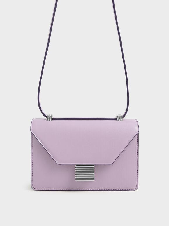 Metallic Push Lock Crossbody Bag, Lilac, hi-res