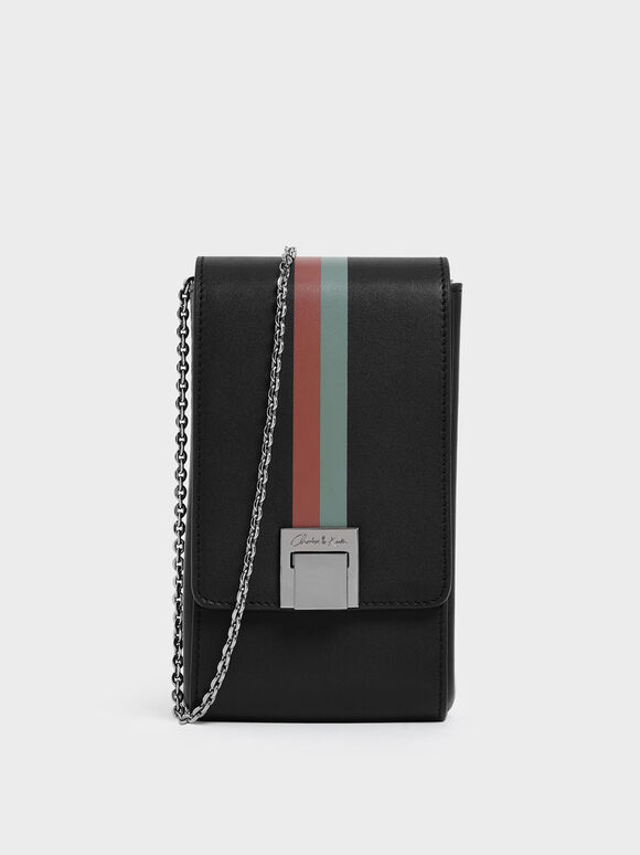 Striped Elongated Leather Crossbody Bag, Black, hi-res