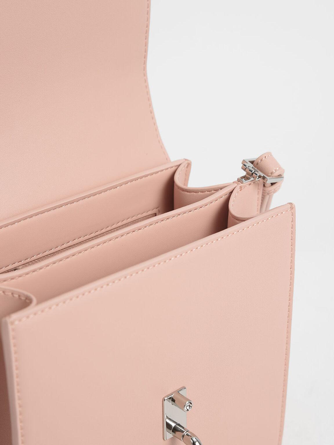 刺繡斜背包, 粉紅色, hi-res
