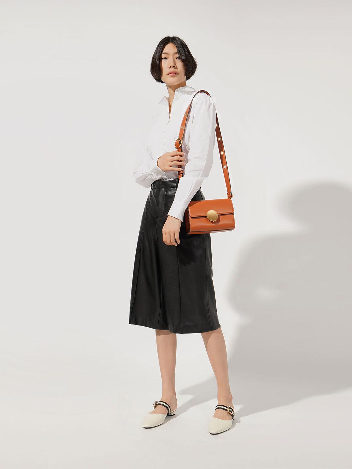 金屬圓扣肩背包, 橘色, hi-res
