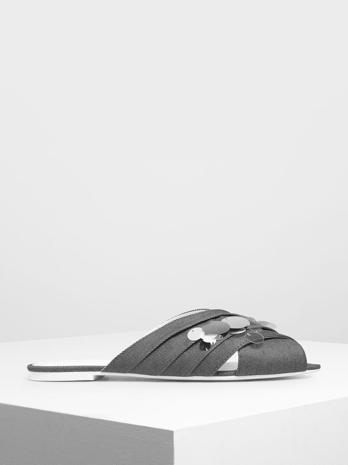 Sequin Peep Toe Denim Sliders, Light Grey, hi-res