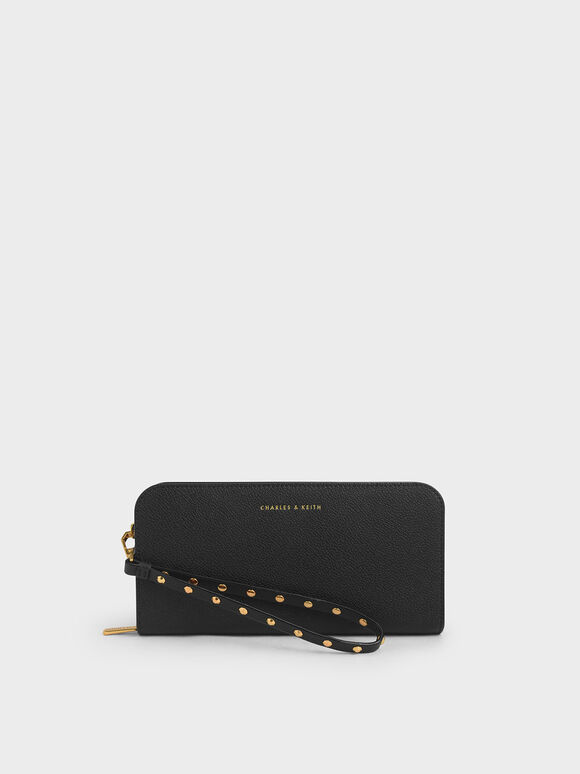 Long Wristlet Wallet, Black, hi-res