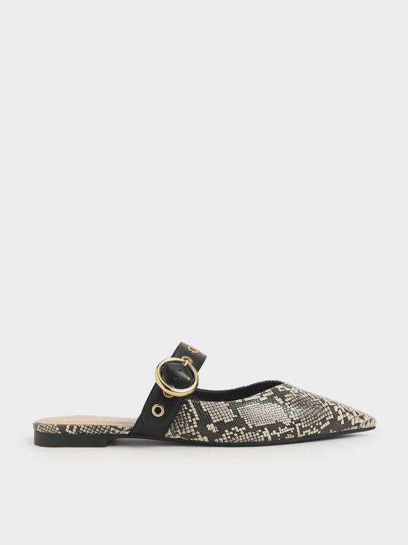 蛇紋皮帶穆勒鞋, 混色, hi-res