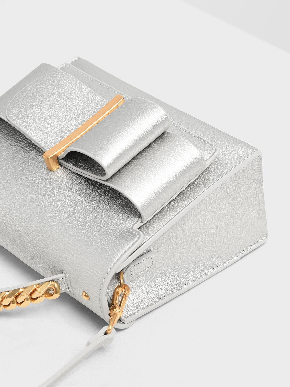 보우 버클 체인 탑 핸들 백, Silver, hi-res