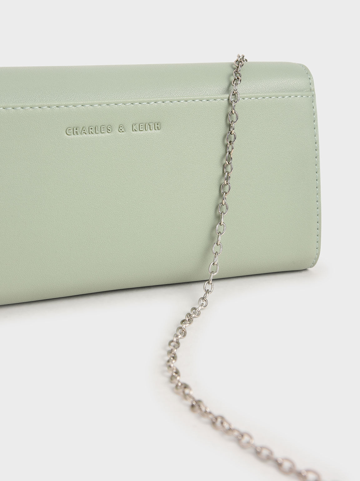 Stone-Embellished Snake Print Long Wallet, Mint Green, hi-res