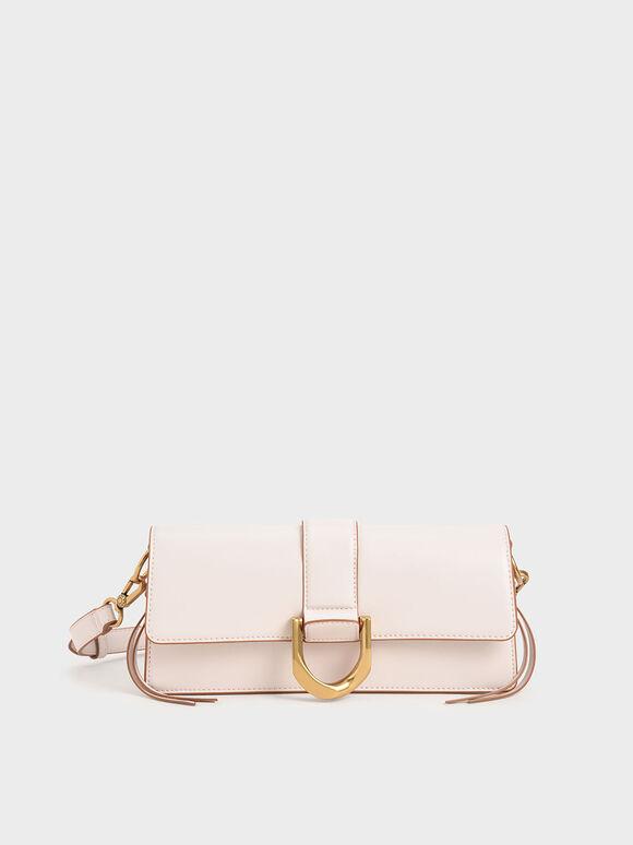 Metallic Buckle Shoulder Bag, Pink, hi-res
