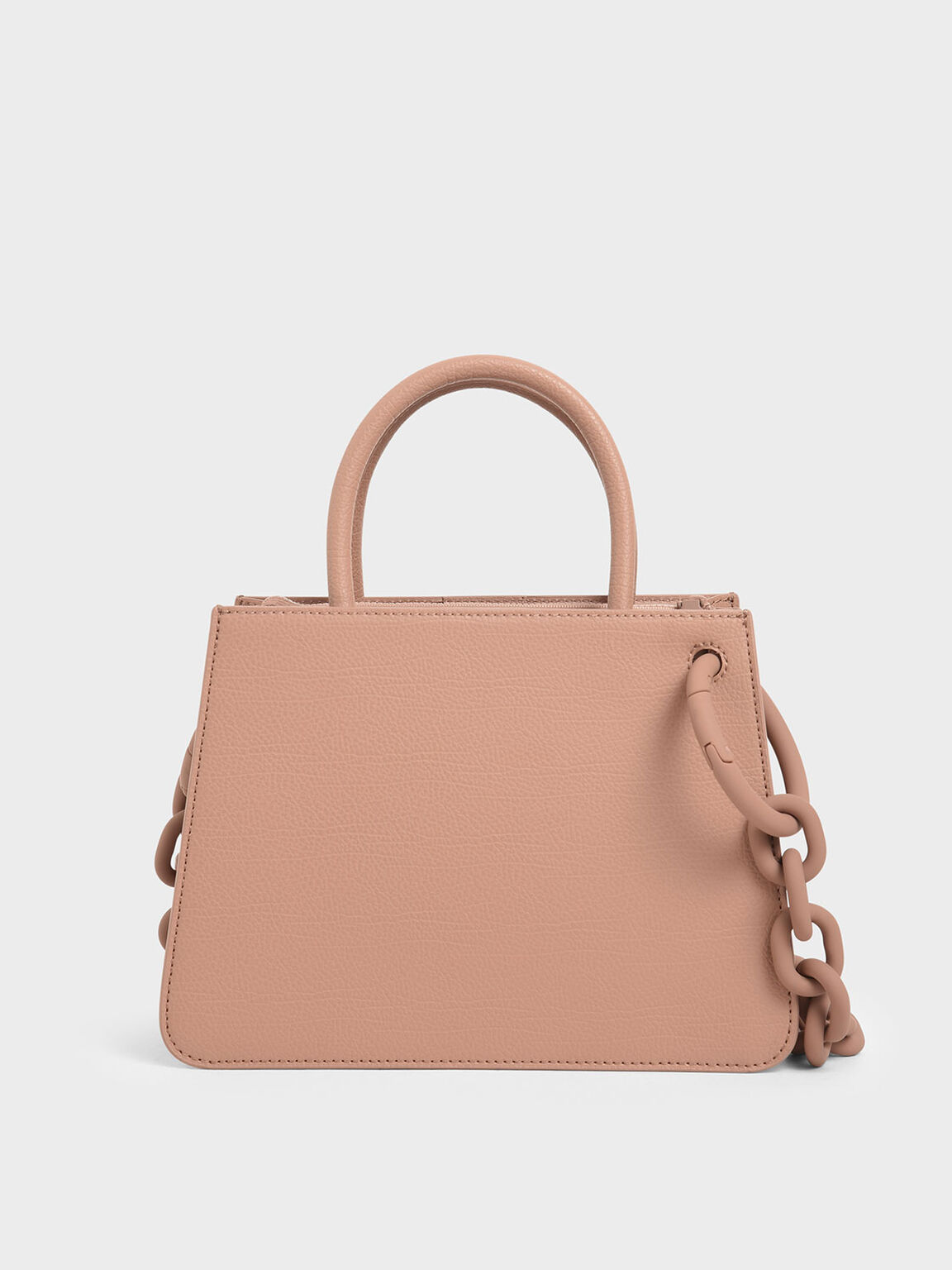 Chunky Chain Top Handle Structured Tote, Blush, hi-res
