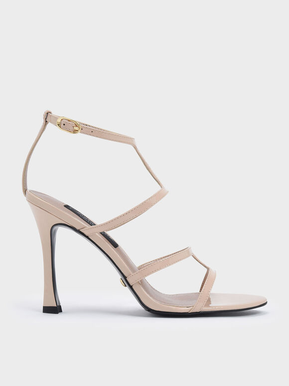 Patent Leather Strappy Stiletto Heel Sandals, Nude, hi-res